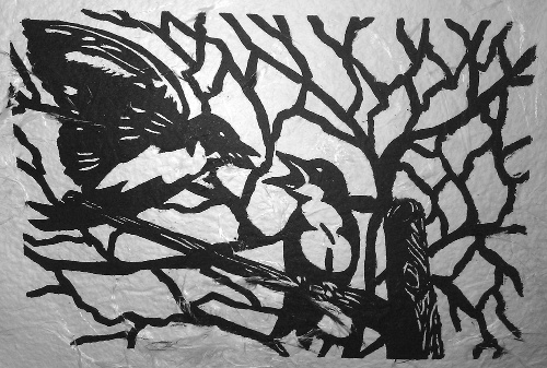 Sparrows on Handmade Feather Paper